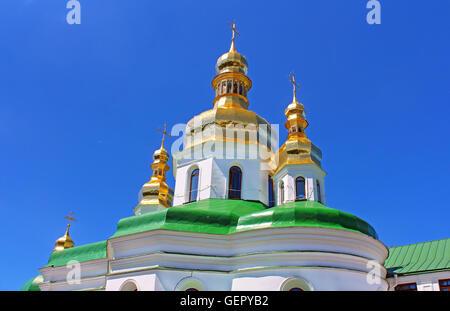 Domes of Holy Cross Church of Kiev Pechersk Lavra Orthodox monastery, Kyiv, Ukraine - Stock Photo