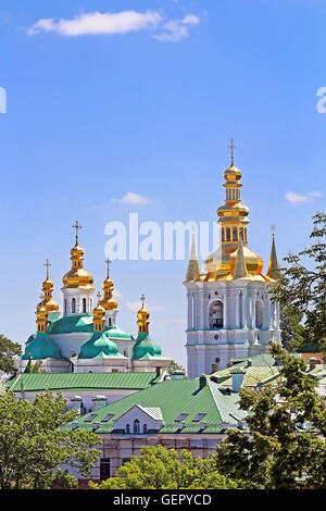 Bell Tower of Distant Caves and Church of Birth Blessed Virgin Holy Assumption of Kiev Pechrsk Lavra monestary, - Stock Photo