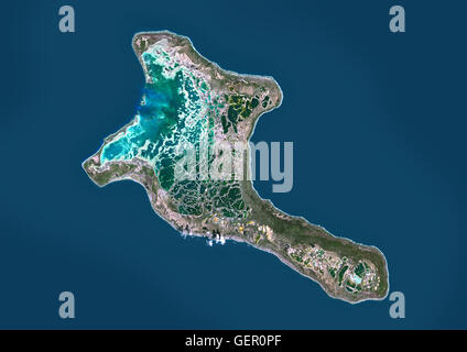 Satellite view of Christmas Island, Kiribati. This image was compiled from data acquired by Landsat 8 satellite - Stock Photo