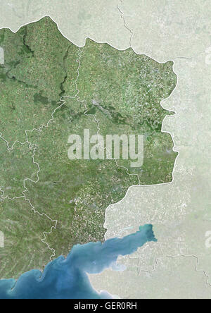 Satellite view of Eastern Ukraine (with country boundaries and mask). The image shows the Donbass region, with Donetsk - Stock Photo