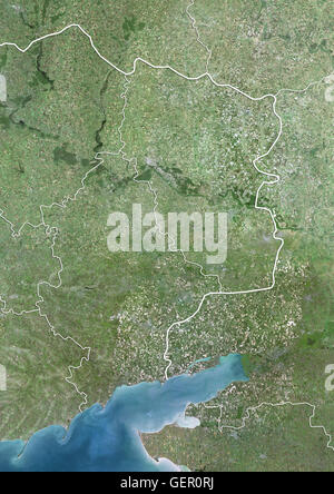 Satellite view of Eastern Ukraine (with country boundaries). The image shows the Donbass region, with Donetsk Oblast - Stock Photo