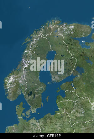 Satellite view of Northern Europe showing Scandinavia and the Baltic States (with country boundaries). This image - Stock Photo