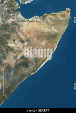 Satellite view of Somalia (with country boundaries). This image was compiled from data acquired by Landsat satellites. - Stock Photo