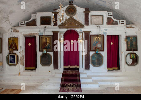 Confessional booths in the chapel of the Venetian Castle of Agia Mavra lefkada lefkas - Stock Photo