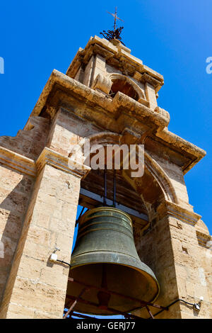 a view of the belfry of the bell tower, known as Micalet, of the Cathedral of Valencia, in Valencia, Spain - Stock Photo