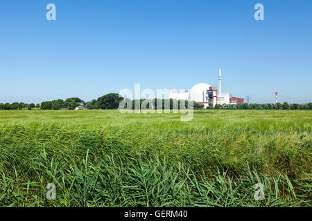 Brokdorf, Germany - July 20, 2016: Nuclear Power plant at Brokdorf, erected in 1986, today operated by E.ON - Stock Photo