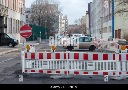 Berlin, Germany, a blocked road and construction work in Berlin-Mitte - Stock Photo
