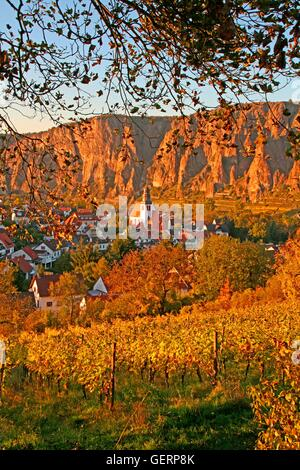 geography / travel, Germany, Rhineland-Palatinate, Ebernburg, in the late autumnal sunset light, vineyard, - Stock Photo