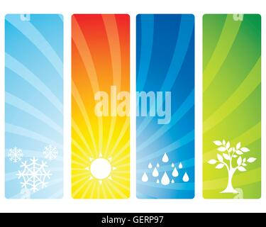 Vector illustration of a four seasons banners - Stock Photo
