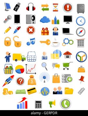 Vector illustration of a web icons set - Stock Photo