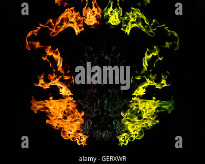 abstract double color of frame fire background - Stock Photo