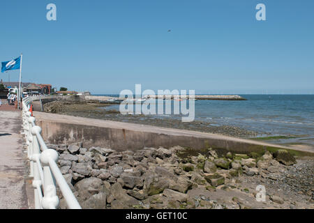 View towards breakwater at Rhos on Sea, Colwyn Bay North Wales - Stock Photo