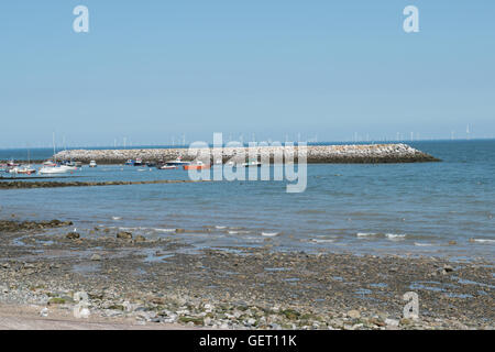 Breakwater at Rhos on Sea North Wales - Stock Photo
