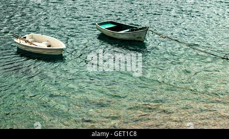 Two boats in San Vicente de la Barquera, Cantabria, Spain.Horizontal image. - Stock Photo