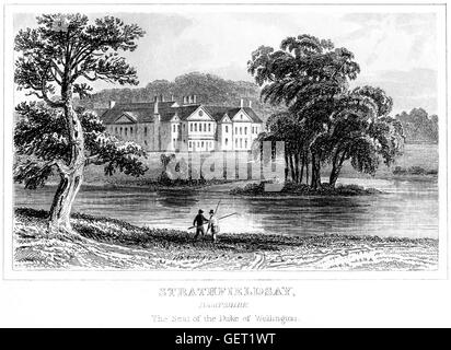 An engraving of Strathfieldsay, Hampshire. The Seat of the Duke of Wellington scanned at high res. from a book printed - Stock Photo