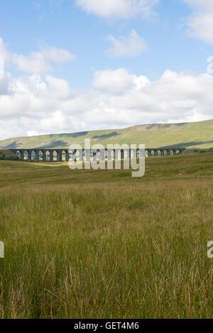 The Famous Ribblehead Viaduct on the Settle to Carlisle Railway North Yorkshire England United Kingdom UK - Stock Photo