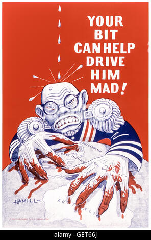 'YOUR BIT CAN HELP DRIVE HIM MAD!'US World War 2 anti-Japanese propaganda poster published in 1942 showing emperor - Stock Photo