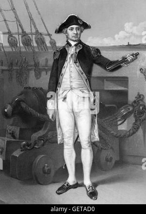 John Paul Jones (born John Paul; 1747-1792) was a Scottish-born American sailor and a renowned naval fighter in - Stock Photo