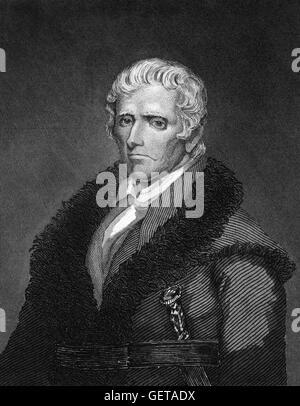 Daniel Boone (1734-1820), an American pioneer frontiersman, most famous for his exploration and settlement of what - Stock Photo