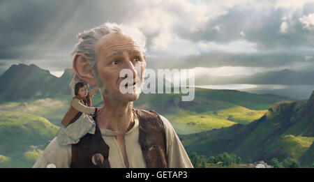 THE BFG  2016 Amblin Entertainment film with Mark Rylance and Ruby Barnhill directed by Steven Spielberg - Stock Photo