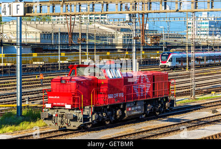 Class Am 843 diesel shunter at Basel SBB railway station. These locomotives were built by Vossloh in 2003-2009 - Stock Photo