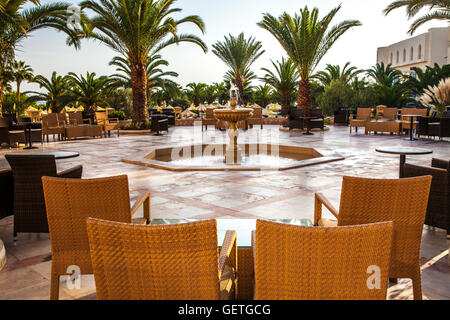 Outside bar area of a five star resort hotel near Port el Kantoui in Tunisia. - Stock Photo