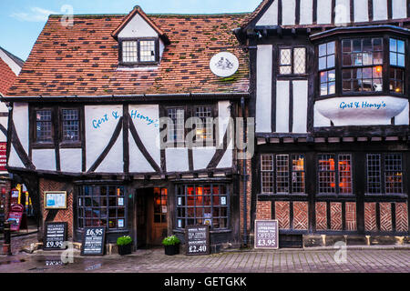 Gert and Henry's restaurant in the old city centre of York. - Stock Photo