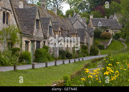 A view of Arlington Row which were homes originally built for local weavers in Bibury. - Stock Photo