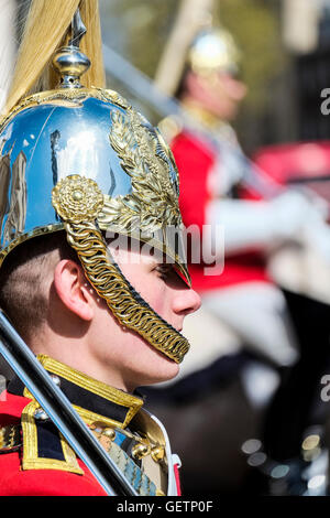A trooper from the Life Guards on sentry duty at Horse Guards Parade in London. - Stock Photo