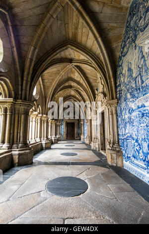 The 14th Gothic cloister with azulejos tilework, Porto Cathedral or Se do Porto, Porto, Portugal - Stock Photo