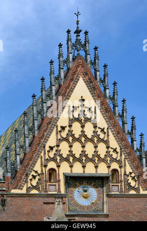 Detail of the Town Hall on Market Square in the Old Town of Wroclaw - Poland. - Stock Photo
