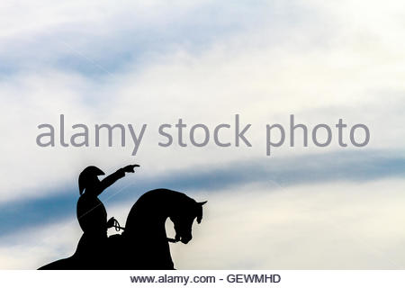 Silhouette of monument to San Martin during sunset in Chascomús, Argentina - Stock Photo