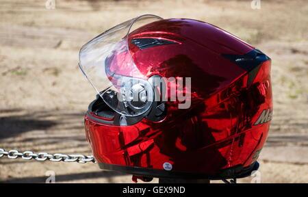 Crash Helmet in red - Stock Photo