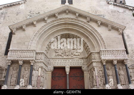The west front of the Church of St. Trophime in Arles, France - Stock Photo