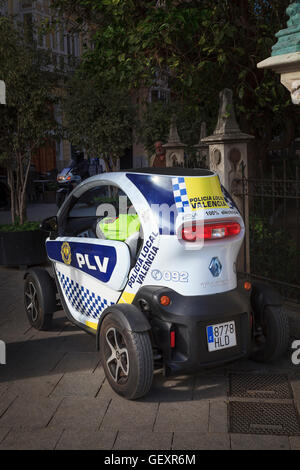 A Renault Twizy used by the local police in Valencia to patrol pedestrian areas. - Stock Photo