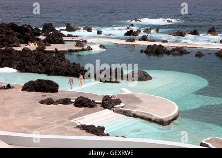 Porto Moniz Natural Volcanic Swimming Pools On Beach Amongst Rocks Stock Photo Royalty Free