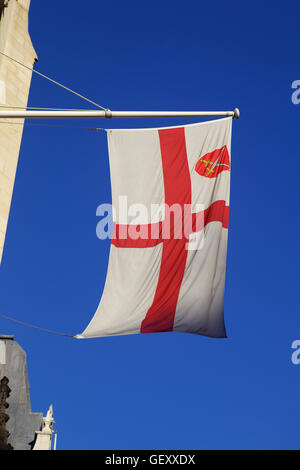 St George flag on St Dunstan in the West. - Stock Photo