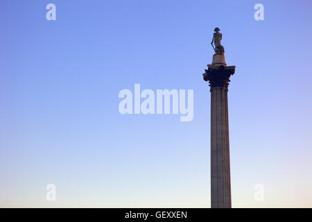 Nelson's Column in Trafalgar Square at twilight. - Stock Photo