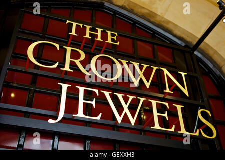 Crown Jewels sign at the entrance to the Jewel House in the Tower of London. - Stock Photo