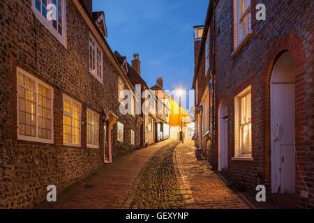 Night falls on Keere Street in Lewes. - Stock Photo