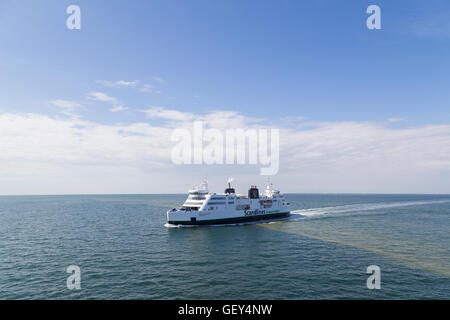 Puttgarden, Germany - July 26, 2016: A Ferry on the Baltic Sea between Puttgarden in Germany and Rodby in Denmark. - Stock Photo