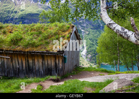 Wooden hut at Vesterasfjellet view point at Geiranger Fjord, Norway - Stock Photo