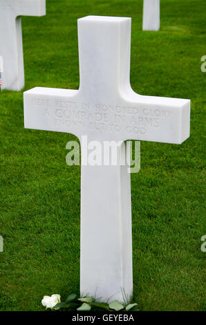 Unknown Soldier Grave Marker at D-day American Cemetery - Stock Photo