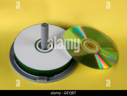 Close-up of computer cds on a cakebox spindle holder - Stock Photo