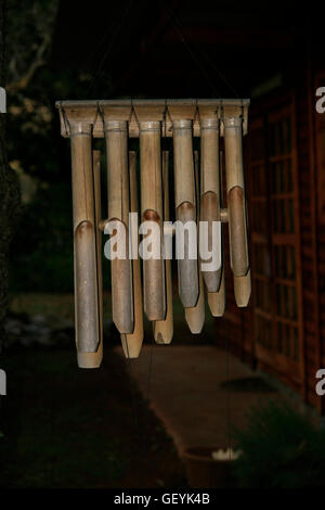 Bamboo wind chimes, White Light Healing Centre, Muldersdrift, Johannesburg, Gauteng - Stock Photo