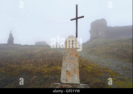 geography / travel, Georgia, the Caucasus Mountains, Georgian Military Road, village Gudauri, pass of the cross - Stock Photo