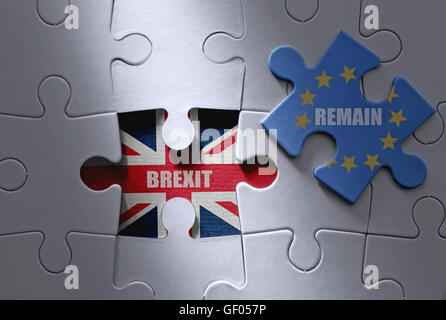 Brexit concept, european flag jigsaw piece with British flag underneath - Stock Photo