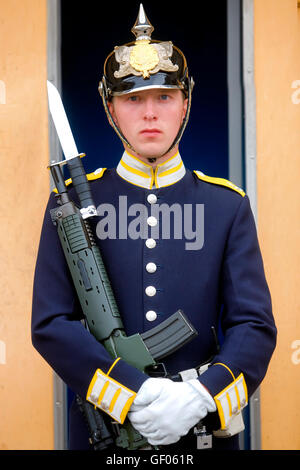 Young guard at the entrance of the royal palace in Stockholm - Stock Photo