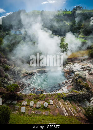 Geothermal hot water hole in Furnas, Sao Miguel, Azores, Portugal - Stock Photo