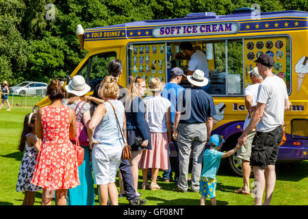 People Buying Ice Cream From A Mobile Ice Cream Van, Withyham Fete, Withyham, Sussex, UK - Stock Photo
